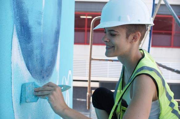 Roz Tallmadge is the lead artist for Newport Aquarium's #SharkWall.