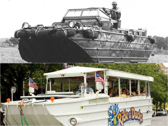 Ride the Ducks vehicles (bottom), known as the DUKW, are amphibious landing crafts originally developed by the U.S. Army during WWII. It was designed to deliver cargo from ships at sea directly to the shore.