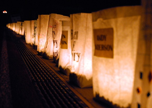 080606-N-9860Y-007 OAK HARBOR, Wash. (June 6, 2008) Luminaries line the Oak Harbor Middle School track for the Relay For Life of North Whidbey, June 6. Relay For Life is a fundraiser held by the American Cancer Society to raise money for cancer research and to promote cancer awareness. U.S. Navy photo by Mass Communication Specialist 2nd Class Tucker M. Yates (Released)