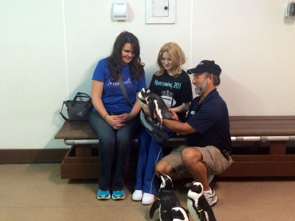 Arion and Destiny with Ric and Paula the penguin