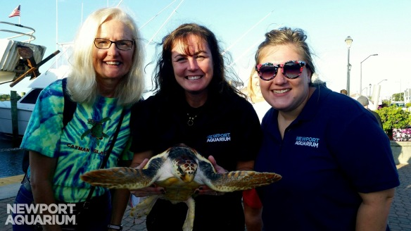 Newport Aquarium diver, Kathy Folk, joined Jen and Cameo for the release.