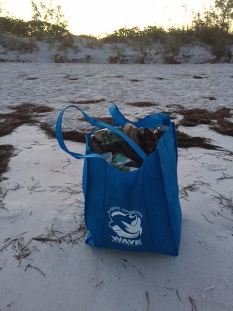 Reusable bag on beach