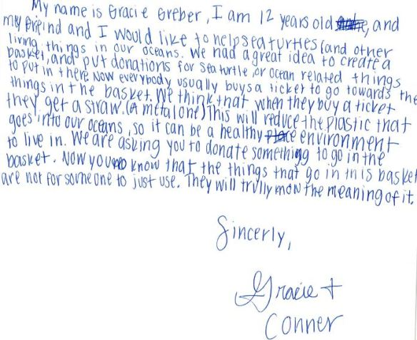 Gracie and Connor letter